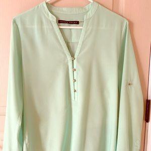 Long sleeve Tiffany's green/teal blouse